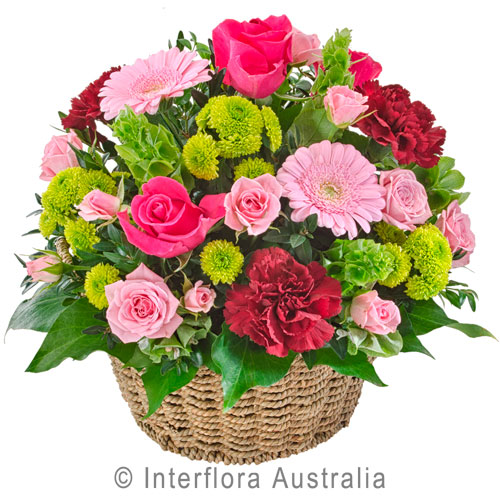 Flourish - Gorgeous full arrangement of flowers in a modern seagrass basket - Birthday / Congratulations,New Baby,Get Well