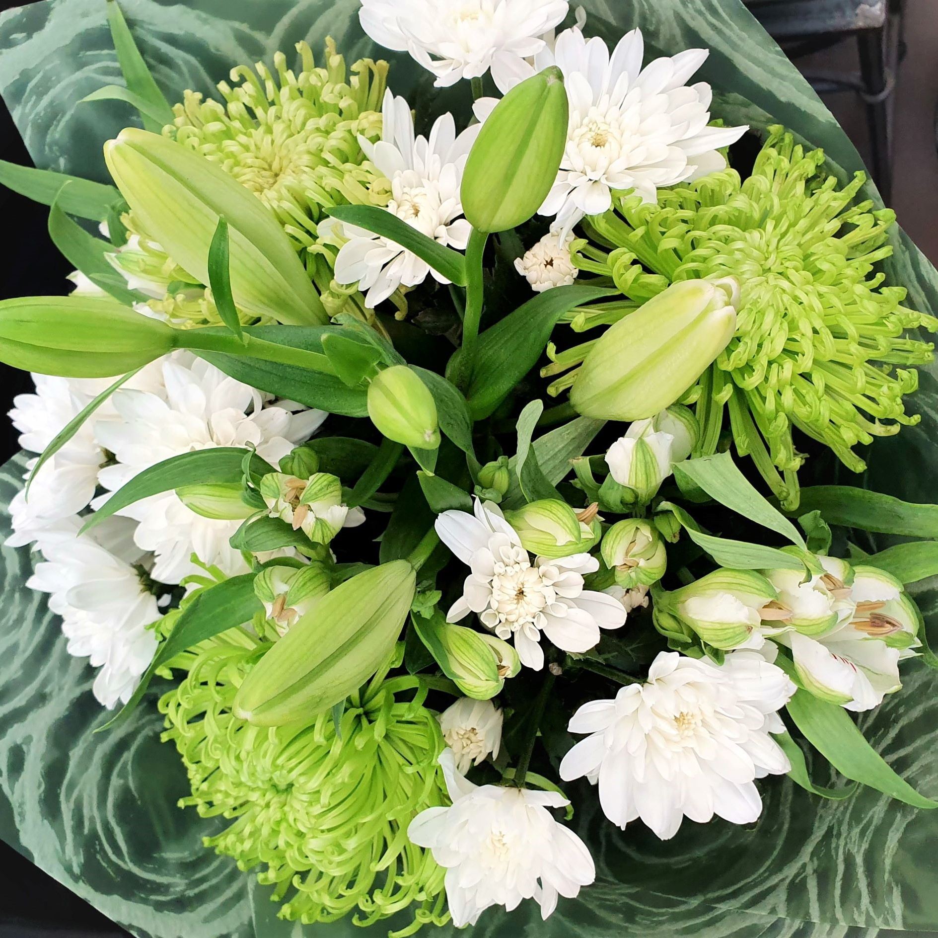 Jade - Bouquet long lasting flowers in green & white tones - choose premium for a larger bouquet - Birthday / Congratulations,Sympathy / Funerals,Any Occasion