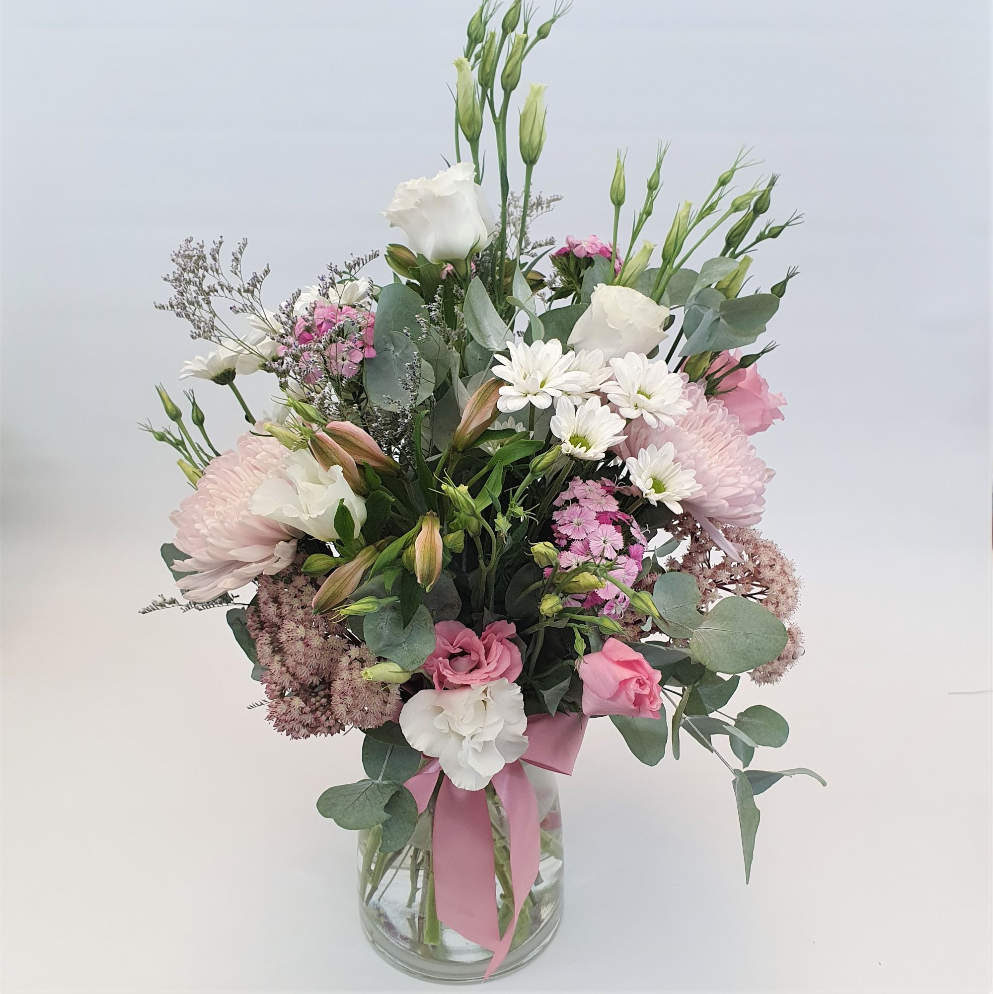 Laura - Pink & white seasonal bouquet of flowers in a glass vase - Anniversary / Romance,Birthday / Congratulations,New Baby,Sympathy / Funerals,Get Well,Any Occasion,Mothers Day