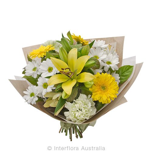 Adina - Mixed bouquet in yellow and white tones - Anniversary / Romance,Birthday / Congratulations,New Baby,Sympathy / Funerals,Get Well,Any Occasion