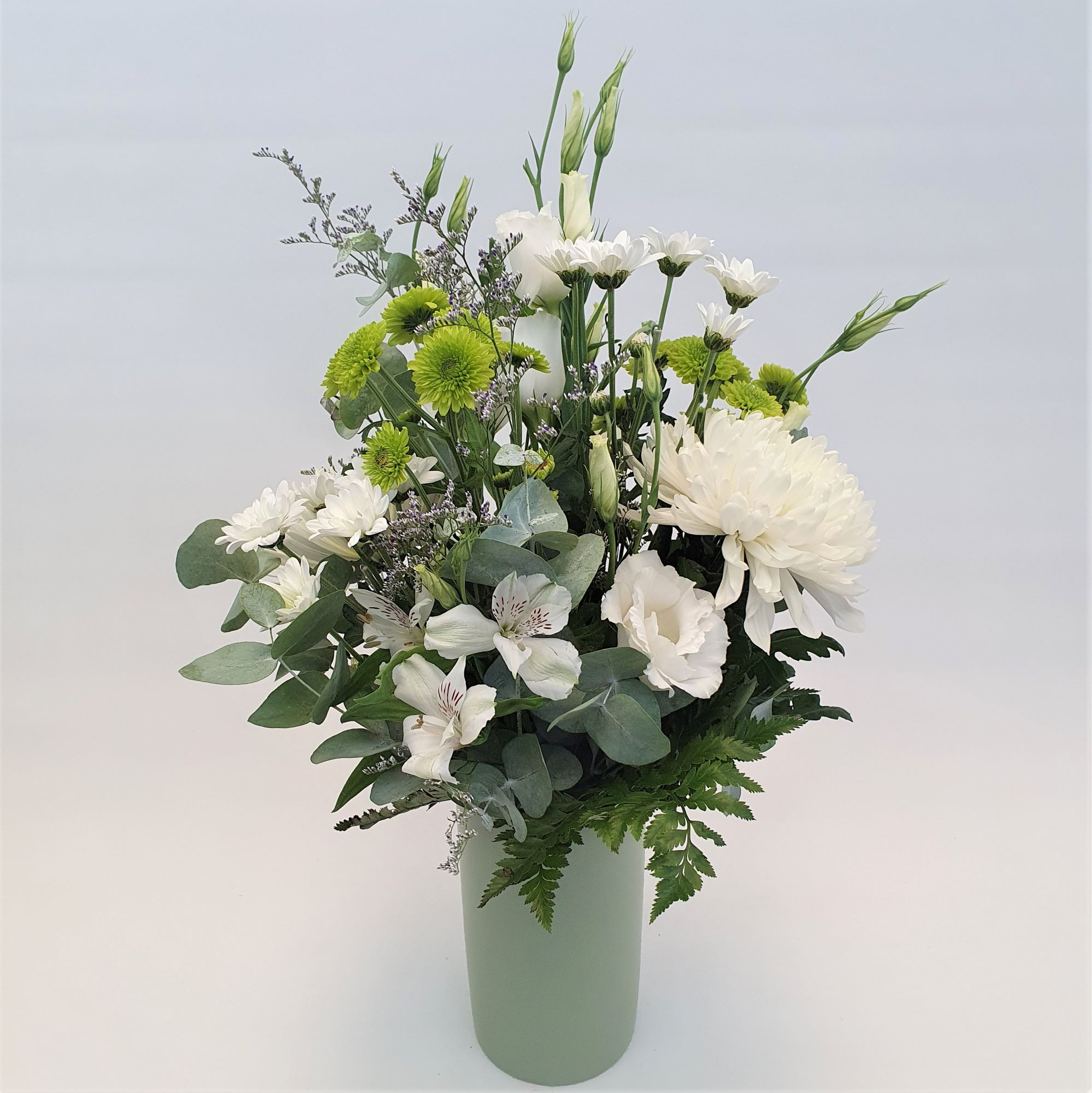 Sage - Green and white seasonal flowers in a sage coloured ceramic vase - Birthday / Congratulations,Sympathy / Funerals,Any Occasion,Mothers Day